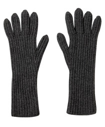 Charcoal pure cashmere ribbed gloves