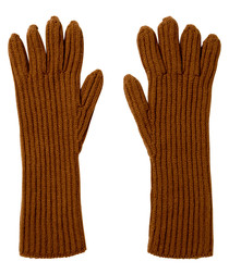 Camel pure cashmere ribbed gloves