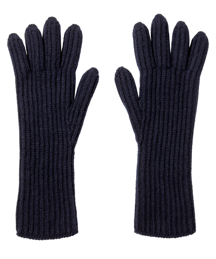 Midnight pure cashmere ribbed gloves Sale - Johnston's of Elgin