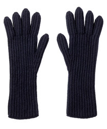 Midnight pure cashmere ribbed gloves