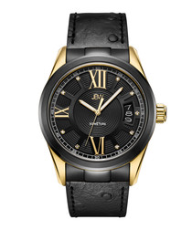Bond 18k gold-plated black leather watch
