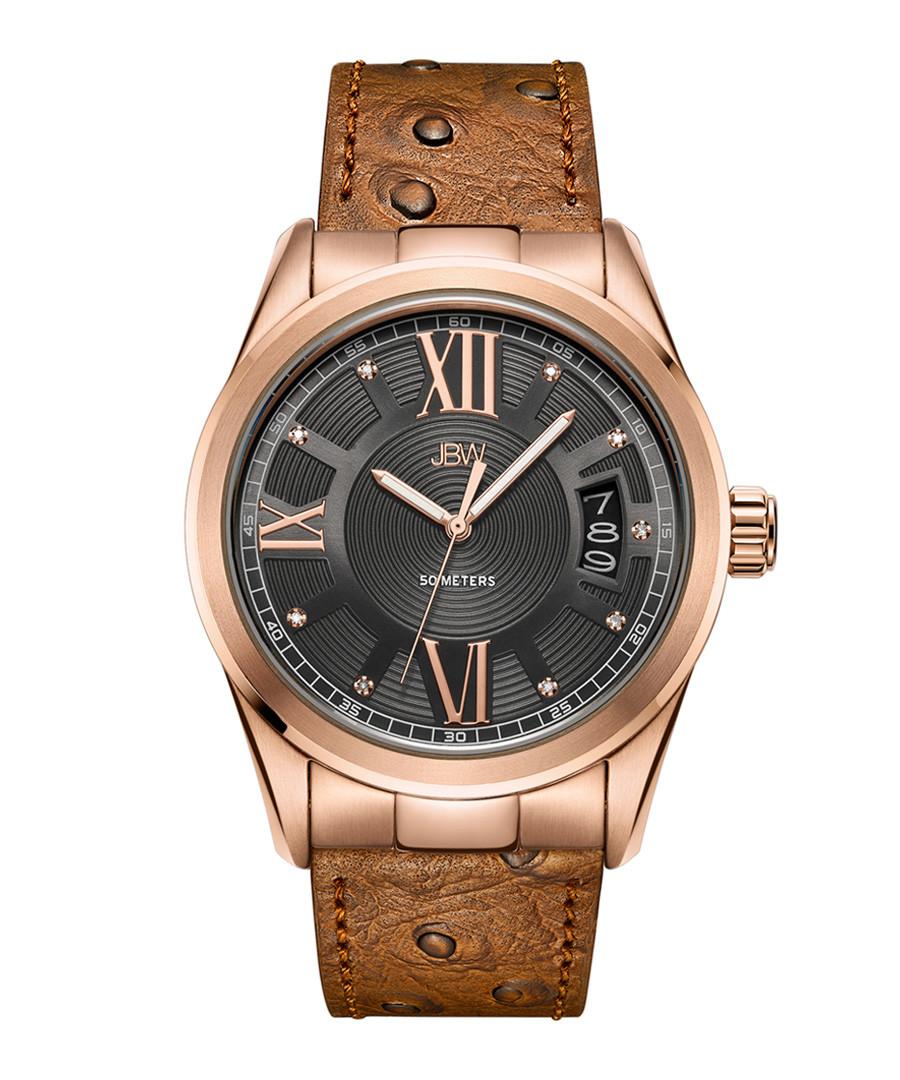 Bond 18k rose-plated tan leather watch Sale - jbw