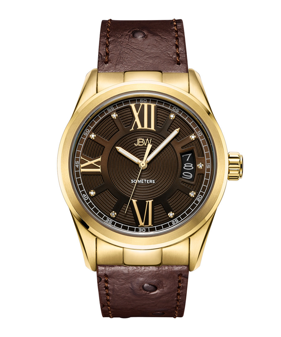 Bond 18k gold-plated brown leather watch Sale - jbw