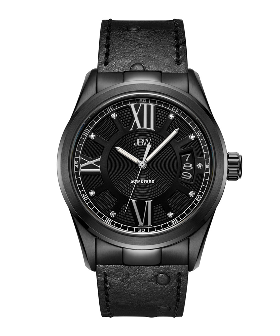 Bond black ion-plated leather watch Sale - jbw