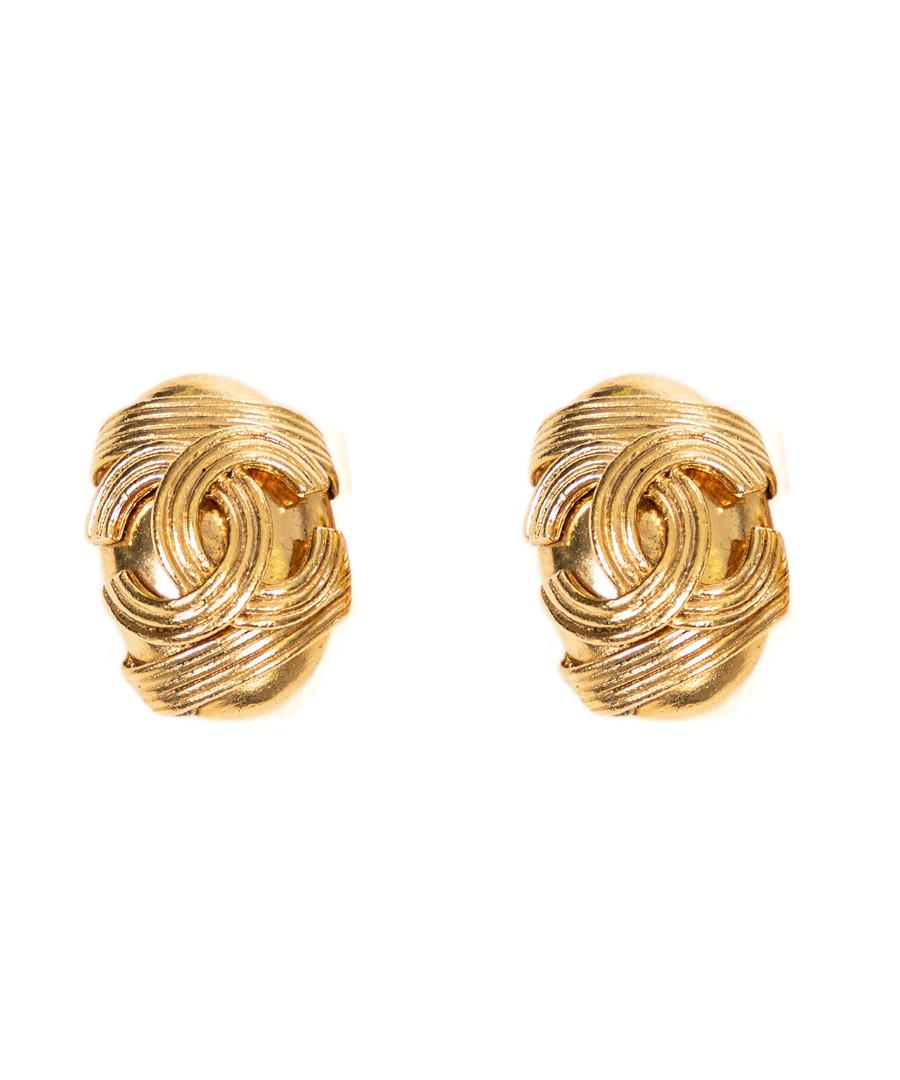 Brass logo clip earrings Sale - vintage chanel