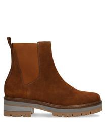 Burnt orange leather heavy Chelsea boots