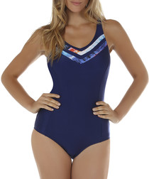 Crete navy inset piping swimsuit