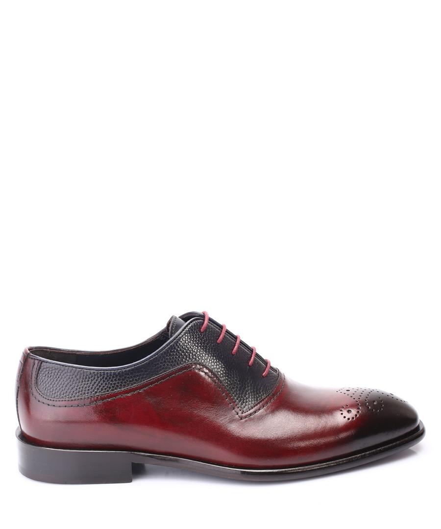Burgundy & navy leather Oxford shoes Sale - deckard