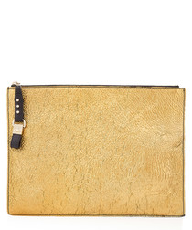 los angeles gold-tone leather clutch