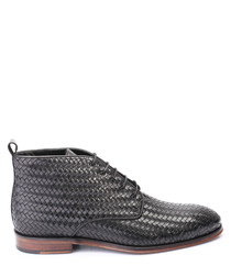 Black leather weave ankle boots