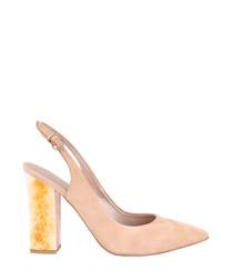 Beige suede slingback heels