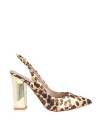 Leopard print textile slingback heels