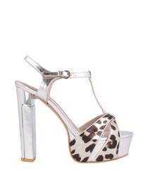 Silver-tone leather platform heels