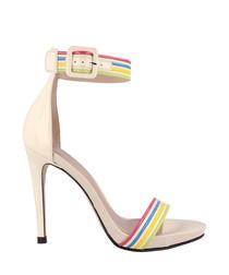 Chalk stripe sandal heels