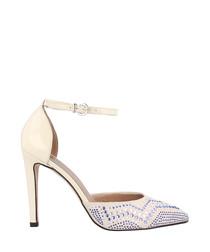Chalk leather zigzag stap heels