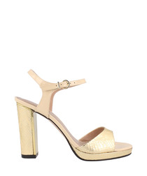 Gold-tone & beige leather sandal heels