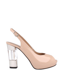 Blush leather contrast slingback heels
