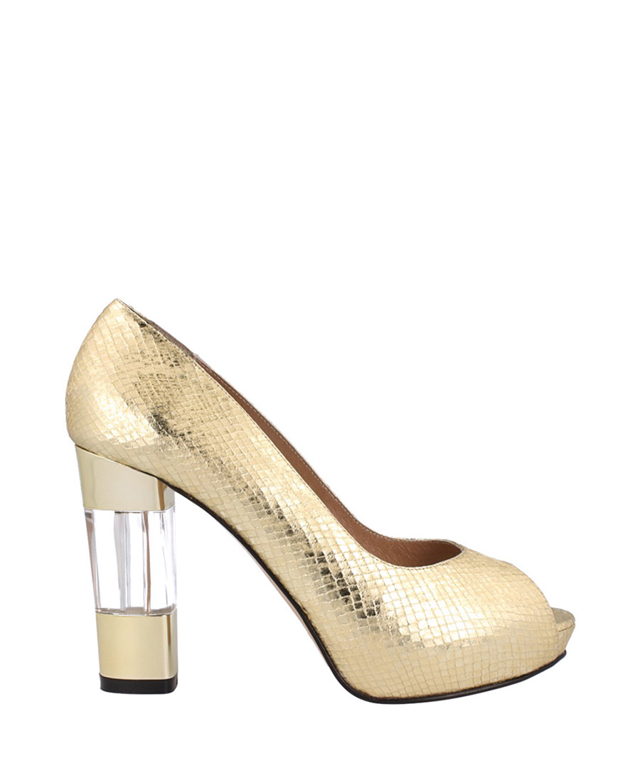 Gold-tone peep-toe court heels Sale - El dantes