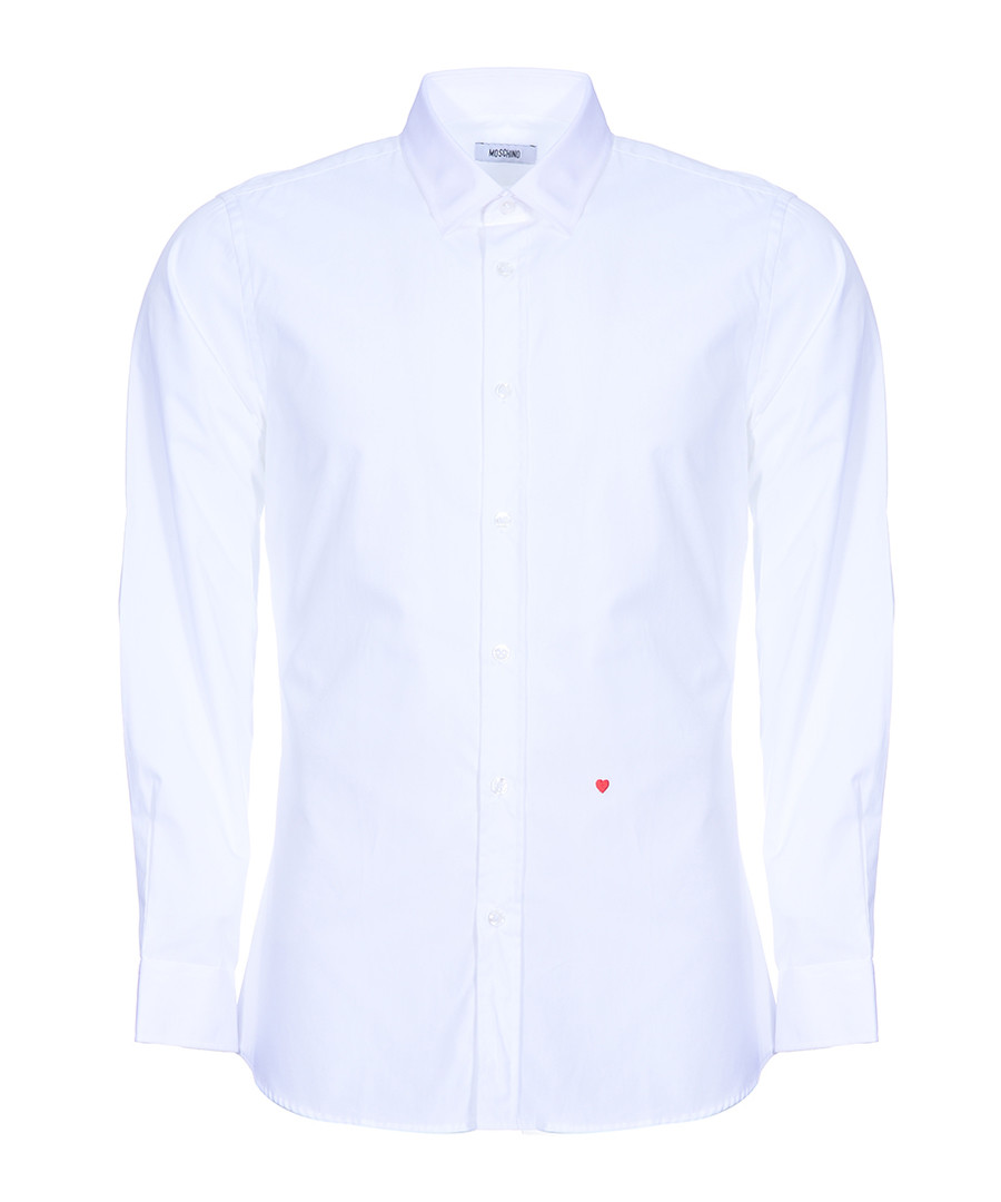 White stitched heart long sleeve shirt Sale - moschino