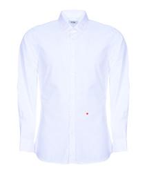 White stitched heart long sleeve shirt