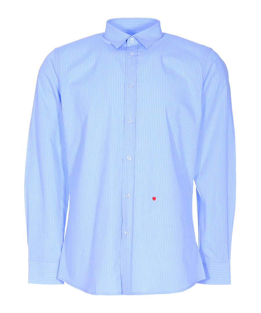 Sky striped & heart stitched shirt Sale - moschino