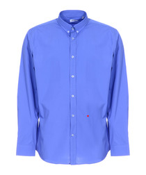 Blue heart stitched button-collar shirt