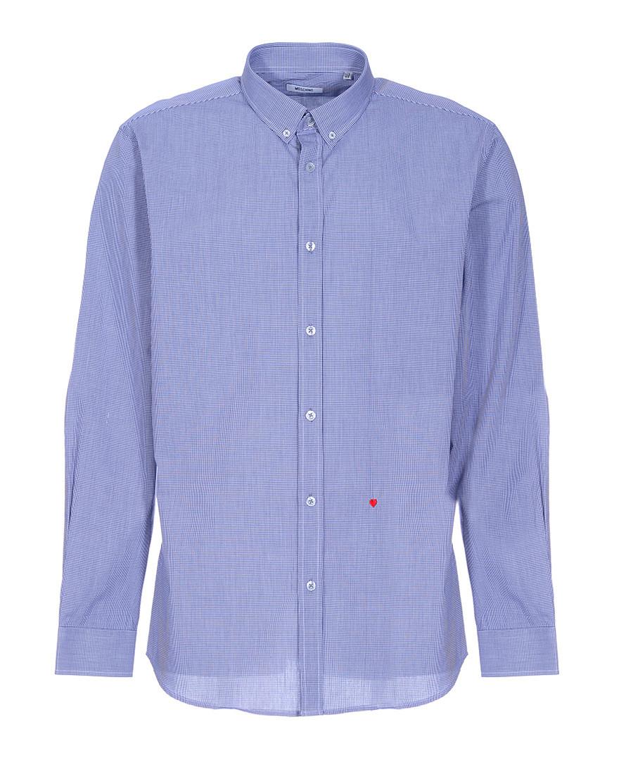 Navy check & heart button-collar shirt Sale - moschino