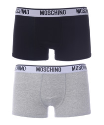 2pc Black & grey cotton logo boxers set