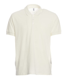 White pure cotton piqué polo shirt