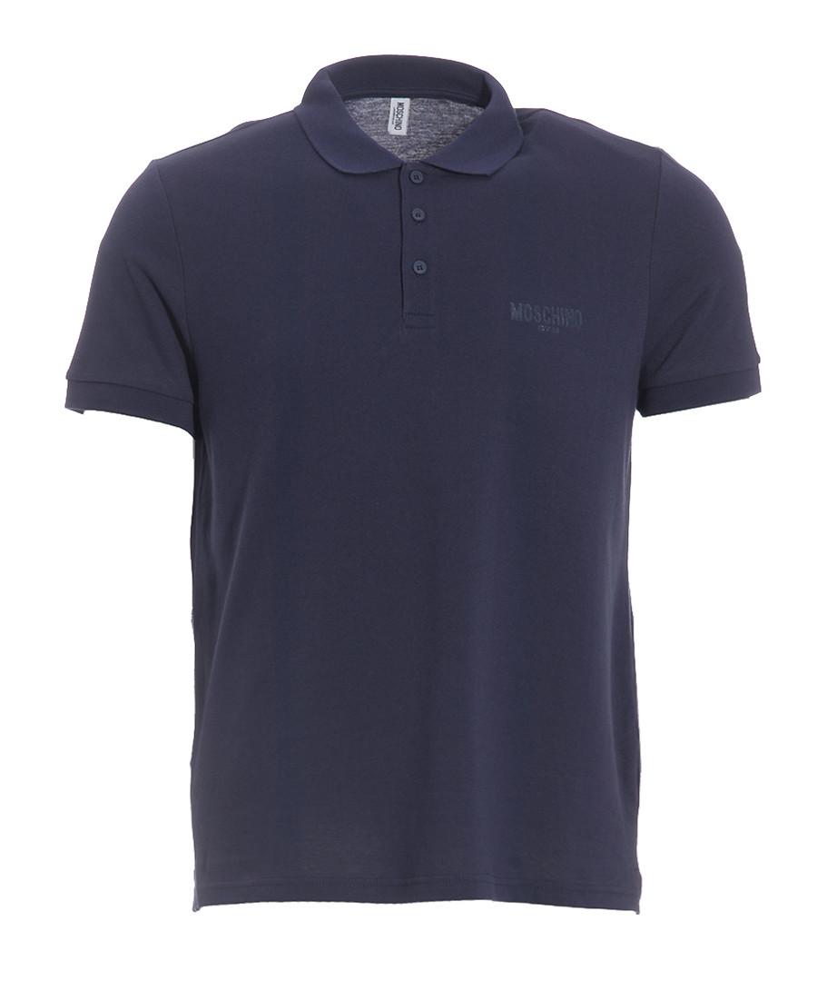 Navy pure cotton piqué polo shirt Sale - moschino