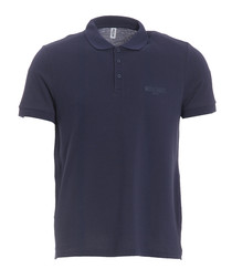 Navy pure cotton piqué polo shirt