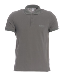 Grey pure cotton piqué polo shirt