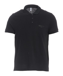 Black pure cotton piqué polo shirt