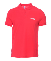 Red pure cotton piqué polo shirt