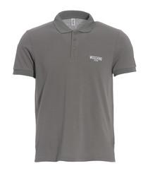 Grey pure cotton piqué polo shirt