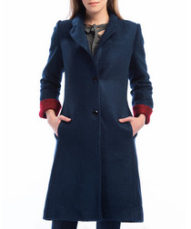 Blue wool blend button-up coat