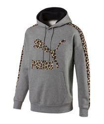 Wild Pack grey cotton blend logo hoodie