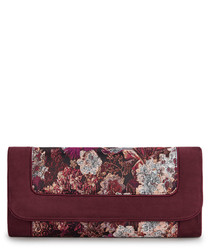 Charleston burgundy floral print clutch