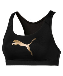 4Keeps black metallic logo sports bra