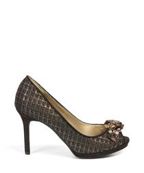 Sonia bronze peep toe court heels