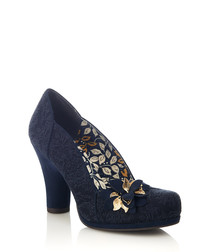 Charlie navy brocade court heels