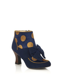 Seren navy polka dot bow ankle boots