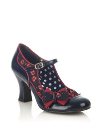 Camilla navy & red bow court heels
