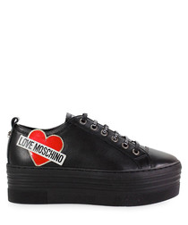 Black fabric heart platform sneakers