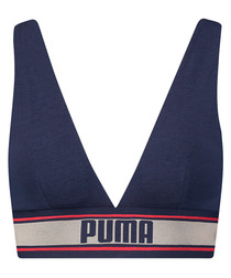 Navy cotton blend V-neck padded bra