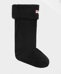 Sheepy black fleece welly socks