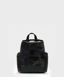 Black rubberised leather backpack