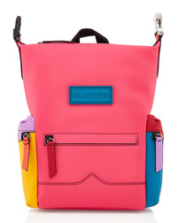 Pastel panel waterproof leather backpack