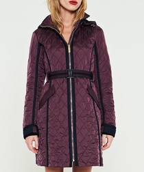 Burgundy nylon quilted trench coat