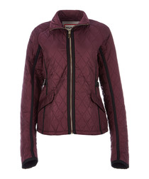 Plum nylon quilted trench jacket